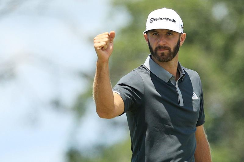 Dustin Johnson celebrates after making a birdie on the seventh hole during the second round of the 2018 U.S. Open at Shinnecock Hills.