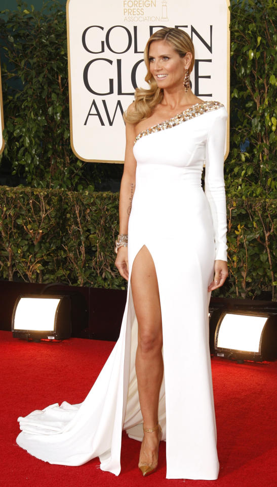 Model and TV personality Heidi Klum at the 70th annual Golden Globe Awards in Beverly Hills, California January 13, 2013. REUTERS/Jason Redmond (UNITED STATES - Tags: Entertainment) (GOLDENGLOBES-ARRIVALS)