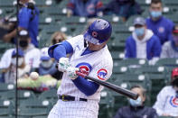 Chicago Cubs' Joc Pederson swings for an RBI single off Pittsburgh Pirates starting pitcher Trevor Cahill in the second inning of a baseball game Friday, May 7, 2021, in Chicago. David Bote scored on the play. (AP Photo/Charles Rex Arbogast)
