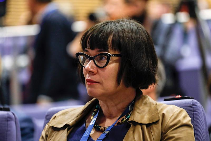 <strong>Sabine Weyand, deputy negotiator for the EU, listens to the press conference</strong> (Bloomberg via Getty Images)