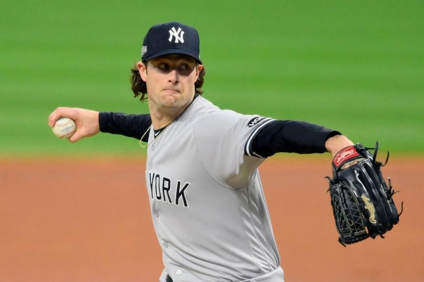 Gerrit Cole throws pitch against Indians in playoffs
