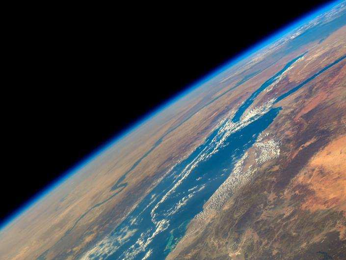 earth seen from space above the red sea and the nile river snaking down africa