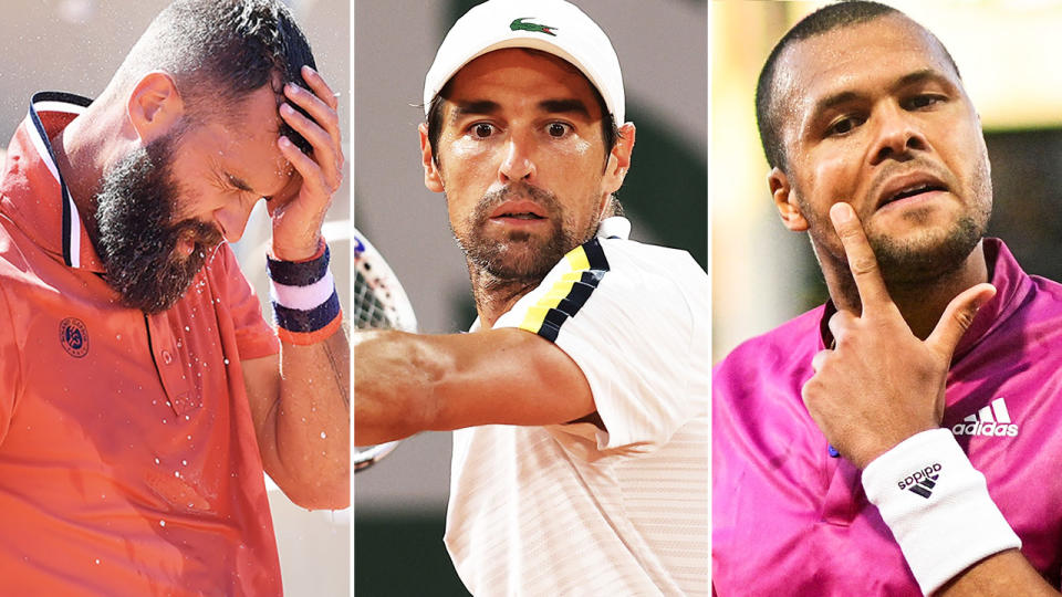 Benoit Paire, Jeremy Chardy and Jo-Wilfried Tsonga, pictured here in action at the French Open.