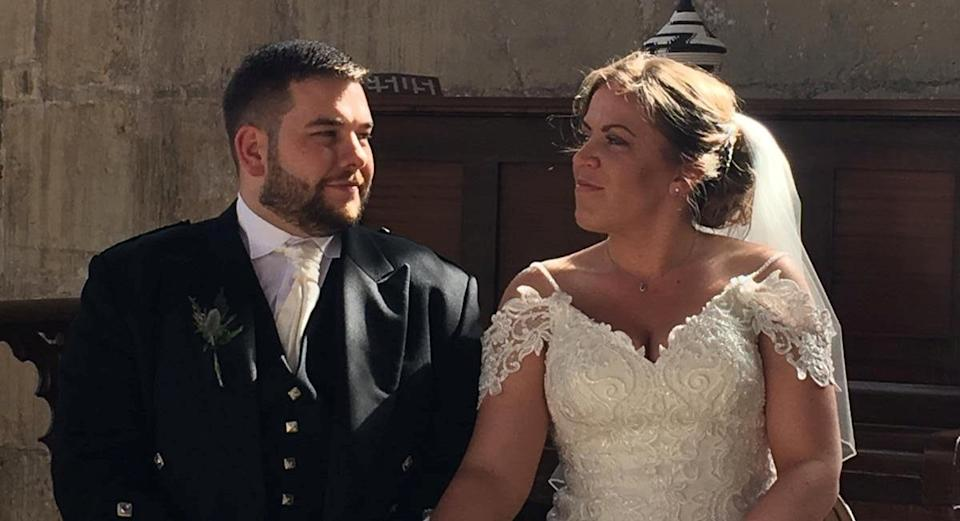 A bride and groom who were forced to cancel wedding celebrations due to coronavirus have donated their hog roast to 400 NHS workers (SWNS)