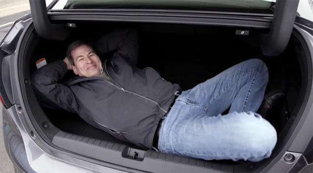 The Honda's trunk is vast and deep, if weirdly shaped.