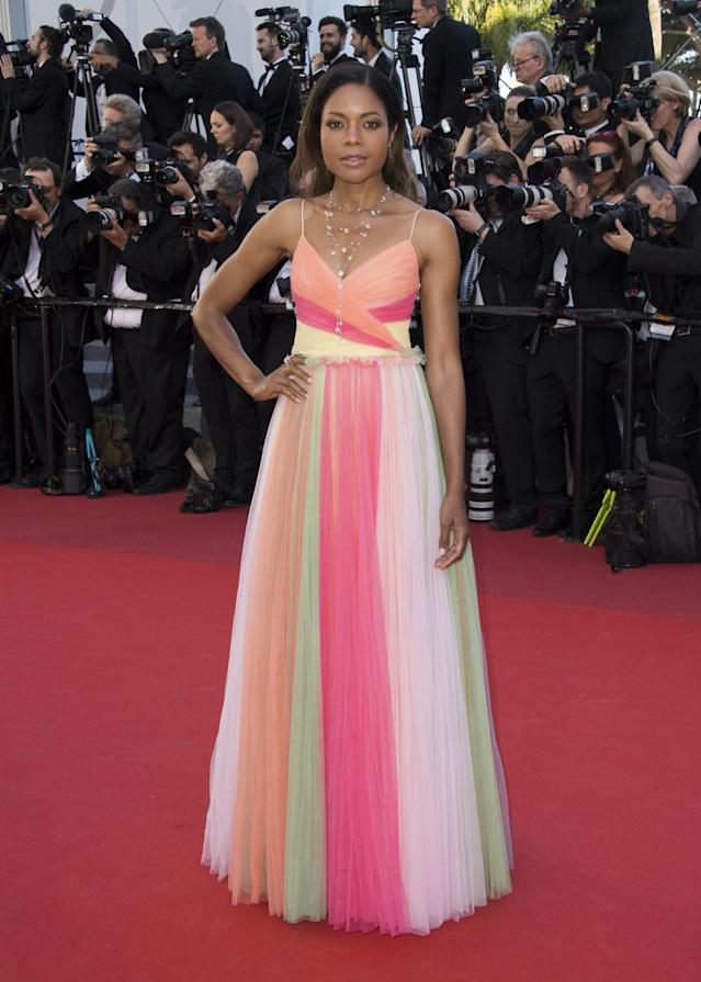 <p>Naomie Harris looked so sweet — like rainbow sherbert! — in a tulle Gucci gown. (Photo: AP) </p>
