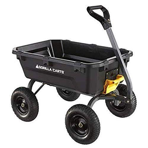 """<p><strong>Gorilla Carts</strong></p><p>amazon.com</p><p><strong>$257.77</strong></p><p><a href=""""https://www.amazon.com/dp/B084NY9PTB?tag=syn-yahoo-20&ascsubtag=%5Bartid%7C10055.g.36266672%5Bsrc%7Cyahoo-us"""" rel=""""nofollow noopener"""" target=""""_blank"""" data-ylk=""""slk:Shop Now"""" class=""""link rapid-noclick-resp"""">Shop Now</a></p><p>If you're physically limited or just don't have the strength to push heavy loads in a wheelbarrow, a four-wheeled cart might work best for you. Gorilla Carts make the most popular cart-style wheelbarrows, and they work very well for gardening. <strong>This particular model offers strength, stability, and zero-turn steering.</strong> The bed is designed to tilt into a completely upended position, making it super easy to dump out whatever you're hauling.</p>"""