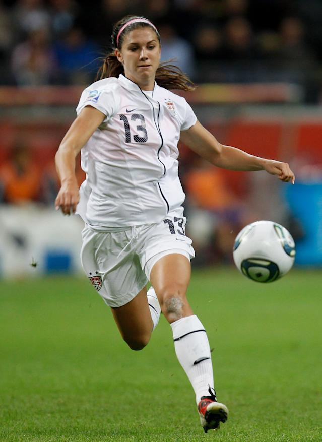 FRANKFURT AM MAIN, GERMANY - JULY 17: Alex Morgan of the USA runs with the ball during the FIFA Women's World Cup Final match between Japan and USA at the FIFA World Cup stadium Frankfurt on July 17, 2011 in Frankfurt am Main, Germany. (Photo by Friedemann Vogel/Getty Images)