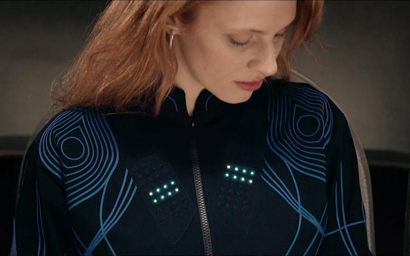 "The so-called ""Sound Shirt"" is fitted with 16 sensors that are woven throughout its fabric.  - CuteCircuit"
