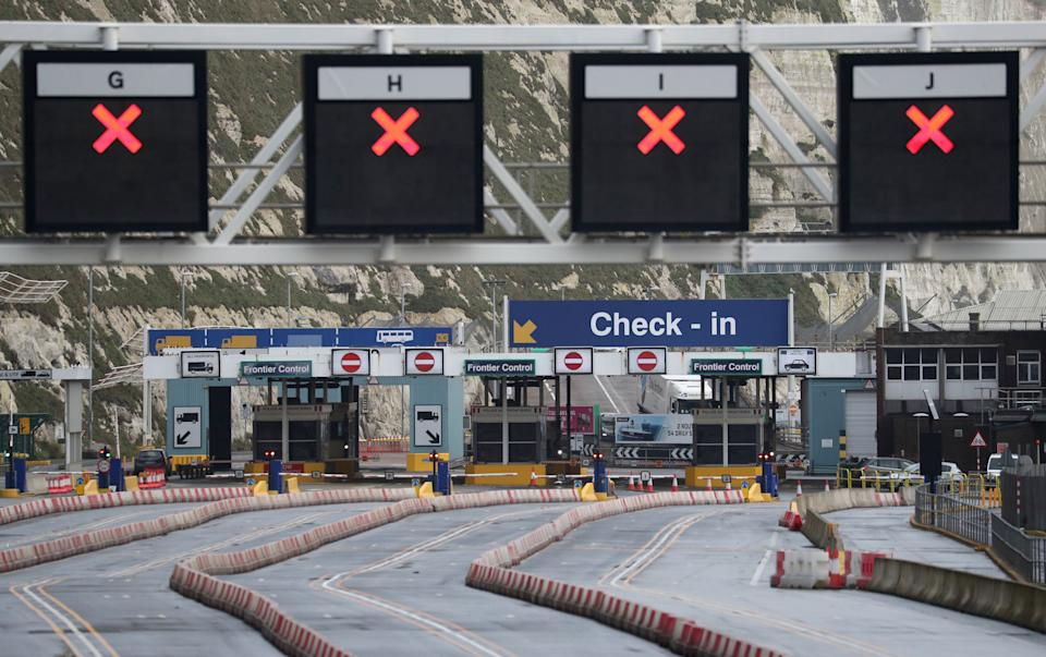 Empty lanes leading to check-in at the port of Dover