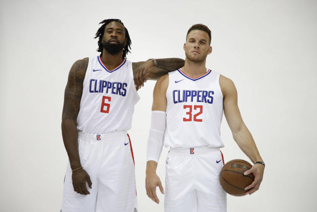 "<a class=""link rapid-noclick-resp"" href=""/nba/teams/lac/"" data-ylk=""slk:Los Angeles Clippers"">Los Angeles Clippers</a> <a class=""link rapid-noclick-resp"" href=""/ncaaf/players/255448/"" data-ylk=""slk:DeAndre Jordan"">DeAndre Jordan</a>, left, and <a class=""link rapid-noclick-resp"" href=""/nba/players/4561/"" data-ylk=""slk:Blake Griffin"">Blake Griffin</a> pose for photos during media day. (AP Photo/Jae C. Hong)"