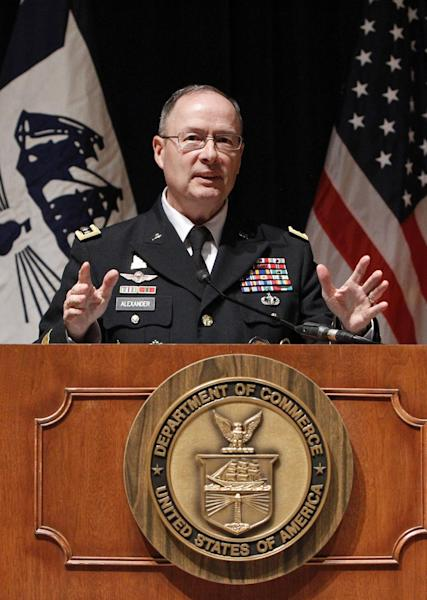 U.S. Cyber Command Commander, National Security Agency Director and Central Security Service Chief General Keith Alexander gestures during a news conference in Washington, Wednesday, Feb. 13, 2013, to give an update on President Barack Obama's Cybersecurity policy. Warning that American companies are the target of an intensive cyber-espionage campaign, President Barack Obama's top security officials on Wednesday said they are struggling to defend the nation from attacks on its private computer networks and called on Congress to pass legislation that would close regulatory gaps. (AP Photo/Ann Heisenfelt)