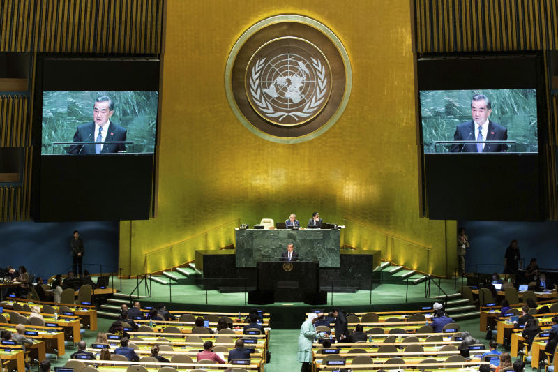 Chinese Foreign Minister Wang Yi addresses the 74th session of the United Nations General Assembly, Friday, Sept. 27, 2019, at the United Nations headquarters.(AP Photo/Kevin Hagen).