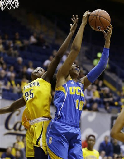 UCLA forward Kacy Swain, right, gets the ball away from California forward Gennifer Brandon, left, during the first half of their NCAA college basketball game on Sunday, Jan. 20, 2013, in Berkeley, Calif. (AP Photo/Eric Risberg)