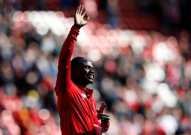 "Soccer Football - Premier League - Liverpool vs Brighton & Hove Albion - Anfield, Liverpool, Britain - May 13, 2018 Liverpool's Sadio Mane acknowledges fans after the match Action Images via Reuters/Carl Recine EDITORIAL USE ONLY. No use with unauthorized audio, video, data, fixture lists, club/league logos or ""live"" services. Online in-match use limited to 75 images, no video emulation. No use in betting, games or single club/league/player publications. Please contact your account representative for further details."