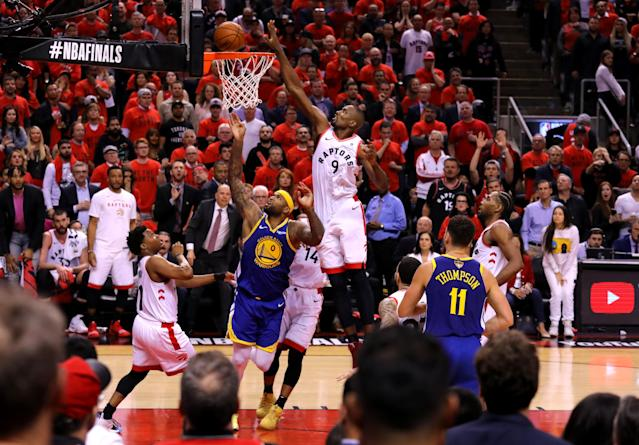 Serge Ibaka #9 of the Toronto Raptors attempts a shot against the Golden State Warriors during Game Five of the 2019 NBA Finals at Scotiabank Arena on June 10, 2019 in Toronto, Canada. (Photo by Gregory Shamus/Getty Images)