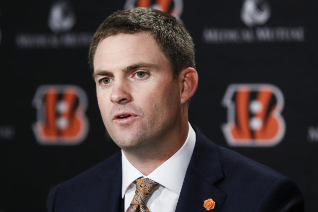 Cincinnati Bengals coach Zac Taylor is still looking for a defensive coordinator. (AP)