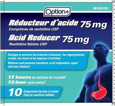 Acid Reducer (ranitidine) sold under the brand name Option+ (CNW Group/Health Canada)