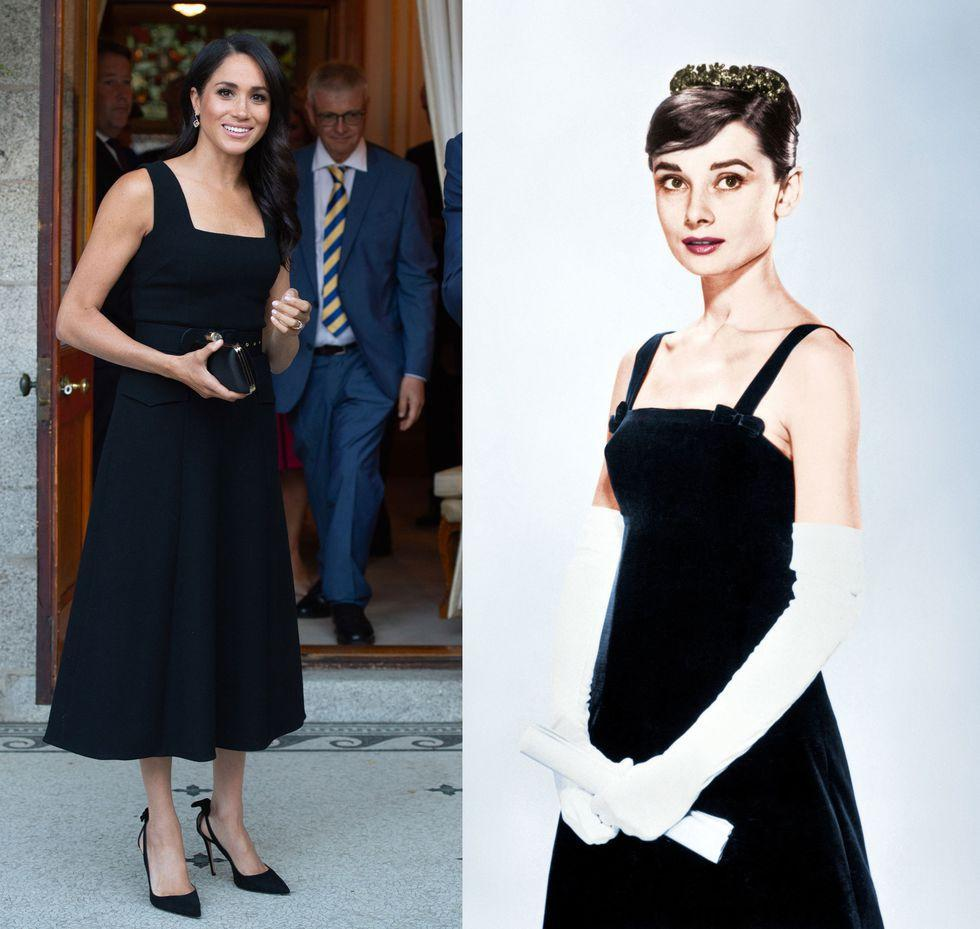 "<p>During her <a rel=""nofollow"" href=""https://www.elle.com/culture/celebrities/a22116994/meghan-markle-dublin-ireland-tour-outfit-cost/"">two-day trip to Ireland</a> this July, the Duchess of Sussex wore a court-neck dress by Emilia Wickstead to the British Ambassador's residence in Dublin. The smart LDB isn't a far cry from the one Audrey wore promoting her 1954 film, <em>Sabrina.</em></p>"