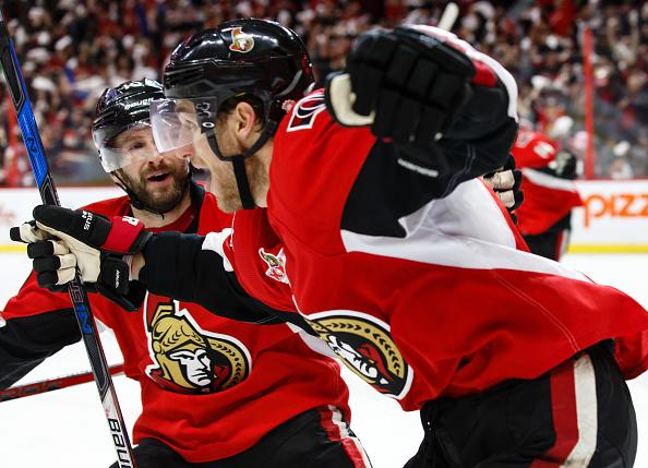 OTTAWA, ON - MAY 6: Kyle Turris #7 of the Ottawa Senators celebrates his overtime goal against the New York Rangers with teammate Tom Pyatt #10 in Game Five of the Eastern Conference Second Round during the 2017 NHL Stanley Cup Playoffs at Canadian Tire Centre on May 6, 2017 in Ottawa, Ontario, Canada. (Photo by Jana Chytilova/Freestyle Photography/Getty Images)