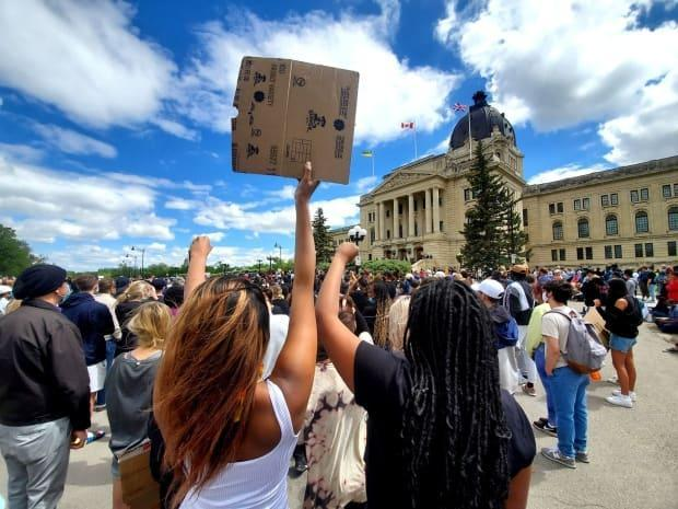 A Black Lives Matter rally in Regina on June 7, 2020, heard from speakers who shared their personal experiences with racism and inequality. The city formed a community wellness committee following that, and now wants to hear from more Regina residents through a community safety and well-being survey.