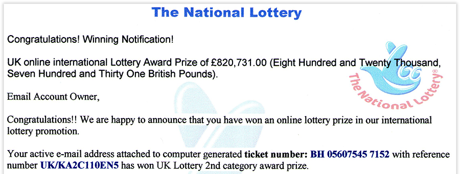 No, you haven't won the lottery.