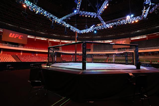 A general view of the Octagon prior to the UFC Fight Night event on March 14, 2020, in Brasilia, Brazil. (Photo by Buda Mendes/Zuffa LLC)