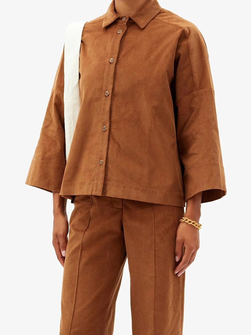 """<br><br><strong>Three Graces London</strong> Sacha Cotton Corduroy Shirt, $, available at <a href=""""https://www.matchesfashion.com/products/Three-Graces-London-Sacha-cotton-corduroy-shirt-1366609"""" rel=""""nofollow noopener"""" target=""""_blank"""" data-ylk=""""slk:MatchesFashion.com"""" class=""""link rapid-noclick-resp"""">MatchesFashion.com</a>"""