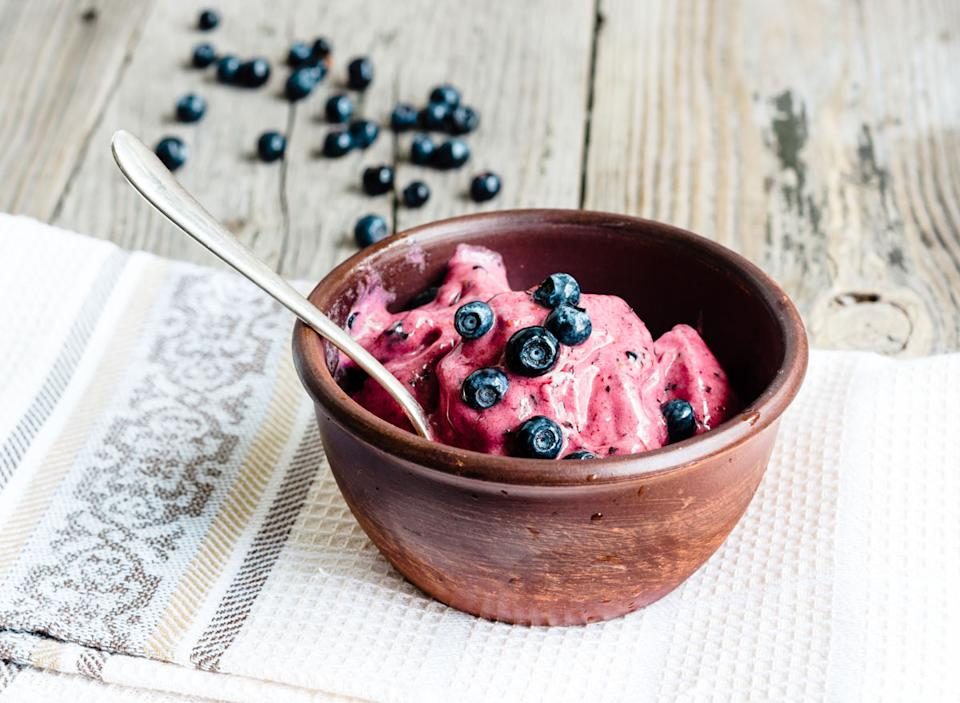 Healthy desserts fruit banana ice cream blueberries