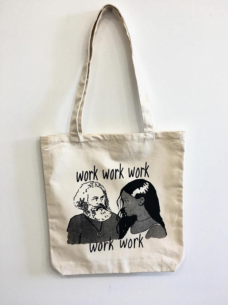 "When social studies class turns into tests on capitalism and Karl Marx, maybe Rihanna can help explain the whole ""work"" thing. Get it for $30.00 at <a href=""https://www.etsy.com/ca/listing/715562265/work-work-work-work-work-marx-and?ga_order=most_relevant&amp;ga_search_type=all&amp;ga_view_type=gallery&amp;ga_search_query=tote+bag&amp;ref=sr_gallery-1-5&amp;organic_search_click=1&amp;pro=1&amp;frs=1"" target=""_blank"" rel=""noopener noreferrer"">Etsy</a>."