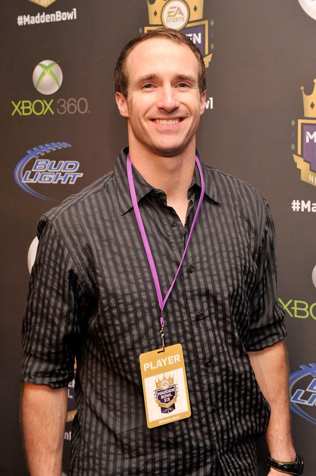 NEW ORLEANS, LA - JANUARY 31:  NFL player Drew Brees of the New Orleans Saints arrives at EA SPORTS Madden Bowl XIX at the Bud Light Hotel on January 31, 2013 in New Orleans, Louisiana.  (Photo by Stephen Lovekin/Getty Images for Bud Light)