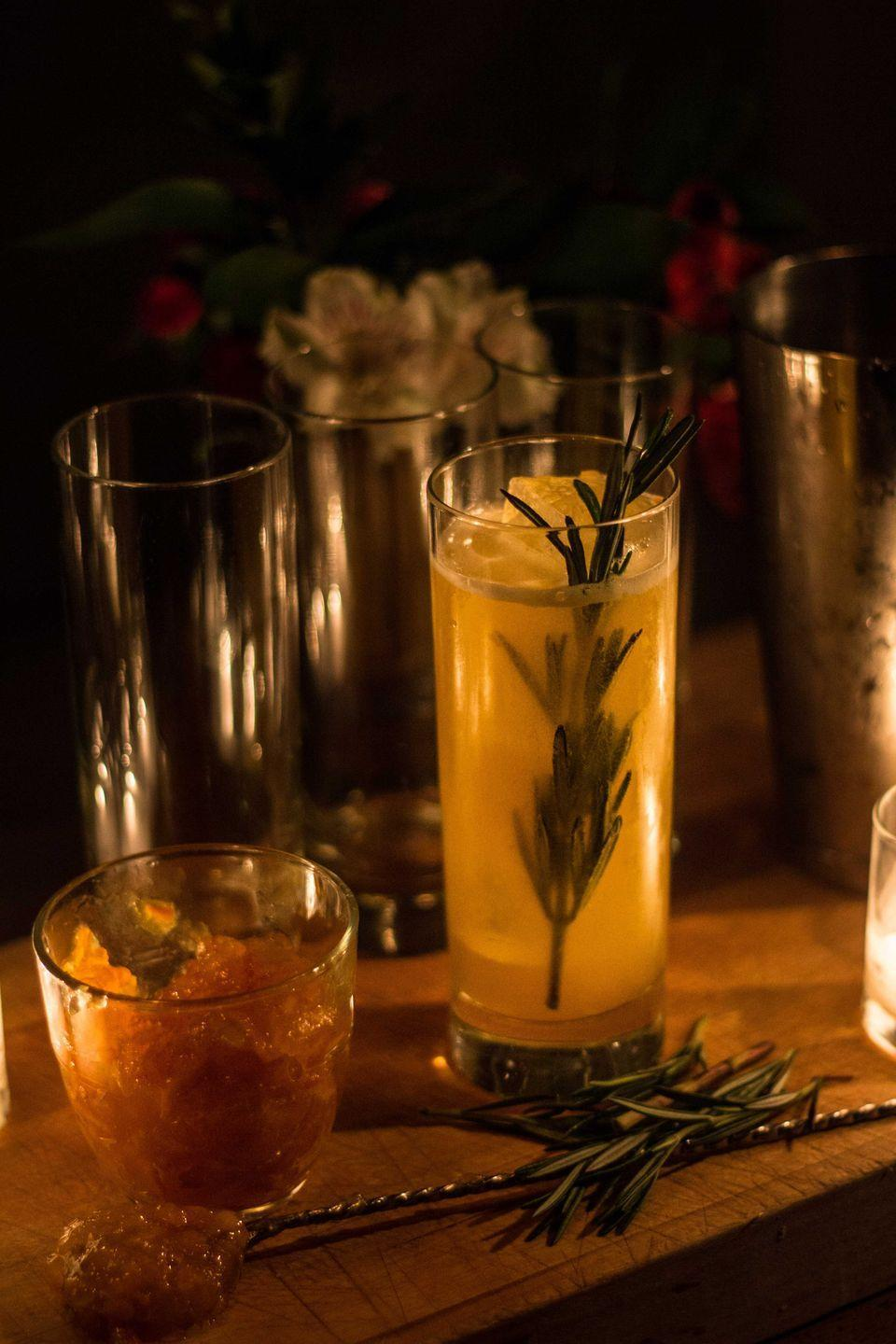 """<p><strong>Ingredients</strong></p><p>1.25 oz vodka<br>1.5 oz cider<br>.75 oz ginger liqueur<br>2 tablespoons of pumpkin jam or puree<br>.25 oz honey<br>.75 oz lemon juice</p><p><strong>Instructions</strong></p><p>Build all ingredients into a shaker, fill with ice. Shake and strain into a highball filled with ice and garnish with a flamed rosemary sprig.</p><p><em>From <a href=""""http://www.thethirdmannyc.com"""" rel=""""nofollow noopener"""" target=""""_blank"""" data-ylk=""""slk:The Third Man"""" class=""""link rapid-noclick-resp"""">The Third Man</a>, NYC</em></p>"""
