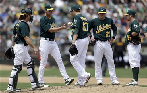 Oakland Athletics' Dan Straily (67) is removed from the baseball game against the Texas Rangers by manager Bob Melvin, second from left, during the fifth inning Wednesday, May 15, 2013, in Oakland, Calif. (AP Photo/Ben Margot)