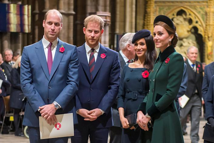 William, Kate Middleton, Prince Harry and Meghan Markle arrive for an Armistice Service at Westminster Abbey on Nov. 11, 2018. (Photo: POOL New / Reuters)