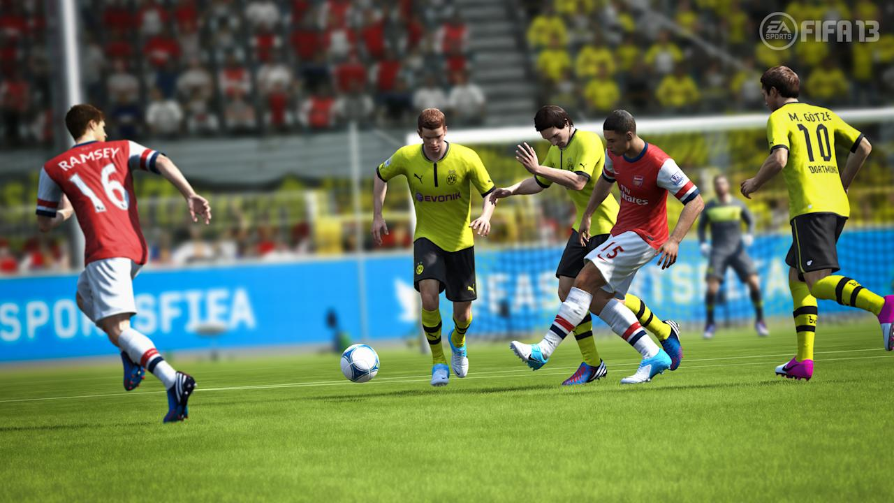 FIFA 13. Vastly improved artificial intelligence makes the solo game in this year's installment far more chewy. The FIFA Ultimate Team mode has been changed to add online leagues and cups to ensure fans of EA's official game keep playing even longer. As ever, it looks great, and the players' statistics and form are more realistic and up-to-date than ever.