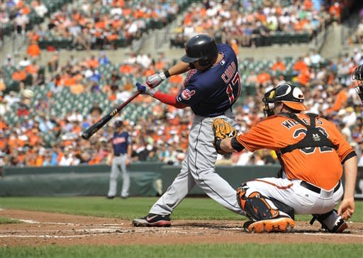Cleveland Indians' Shin-Soo Choo connects for a solo home run against the Baltimore Orioles during the second inning of a baseball game Saturday, June 30, 2012 in Baltimore. Also pictured is Baltimore Orioles catcher Matt Wieters.(AP Photo/Gail Burton)