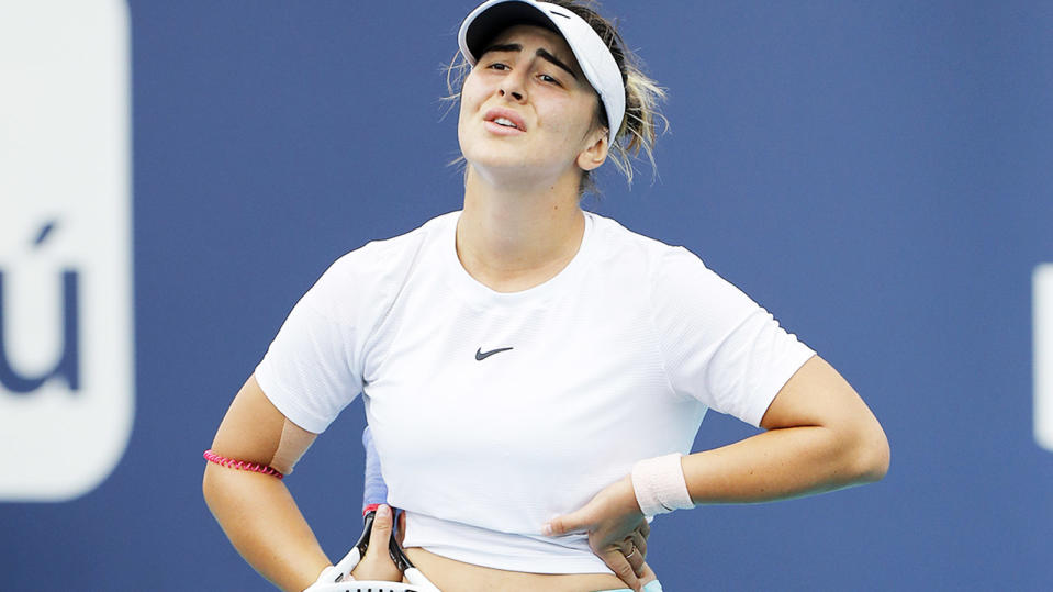Bianca Andreescu, pictured here during the Miami Open final against Ash Barty.