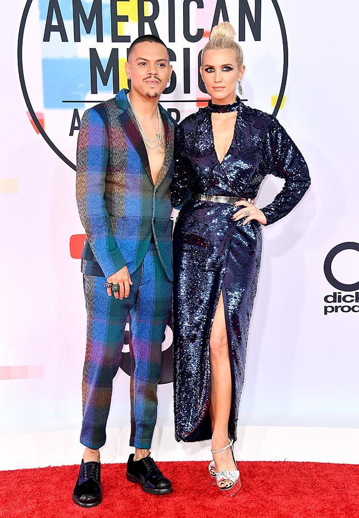 <p>Evan Ross (L) and Ashlee Simpson attend the 2018 American Music Awards at Microsoft Theater on Oct. 9, 2018, in Los Angeles. (Photo: Frazer Harrison/Getty Images) </p>