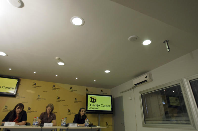 Relatives searching for the missing from the Balkan conflicts, from left: Ljiljana Alvir, Seida Karabasic, Olgica Bozanic attend a press conference in Belgrade, Serbia, Wednesday, Aug. 29, 2012. Amnesty International and regional Balkan human rights organizations, on Wednesday urged the Balkan states to investigate the fate of some 14,000 people still missing from the region's conflicts and for those responsible for their disappearance to be punished. The groups charged ahead of the International Day of the Disappeared on Thursday that the Balkan governments lack political will to deal with the problem more than two decades after the wars started. (AP Photo/Darko Vojinovic)