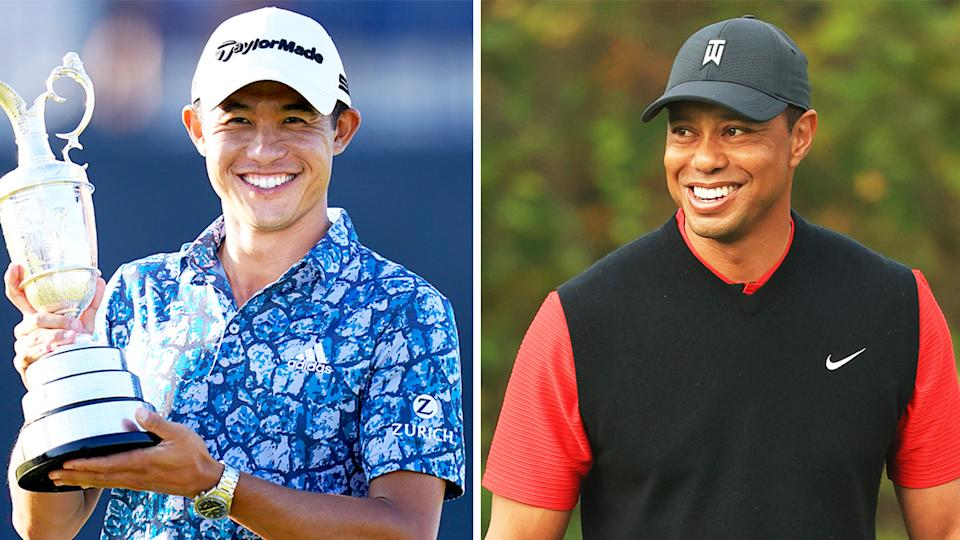 Collin Morikawa (pictured left) holding the British Open trophy and (pictured right) Tiger Woods smiling.