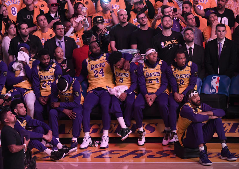 LOS ANGELES, CALIFORNIA - JANUARY 31: LeBron James #23 of the Los Angeles Lakers and teammates look on during the pregame ceremony to honor Kobe Bryant before the game against the Portland Trail Blazers at Staples Center on January 31, 2020 in Los Angeles, California. (Photo by Kevork Djansezian/Getty Images)