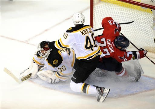 Washington Capitals center Keith Aucoin (23) goes to the net against Boston Bruins goalie Tim Thomas (30) and David Krejci (46), of the Czech Republic, during the second period of Game 6 of an NHL hockey Stanley Cup first-round playoff series, Sunday, April 22, 2012, in Washington. (AP Photo/Nick Wass)