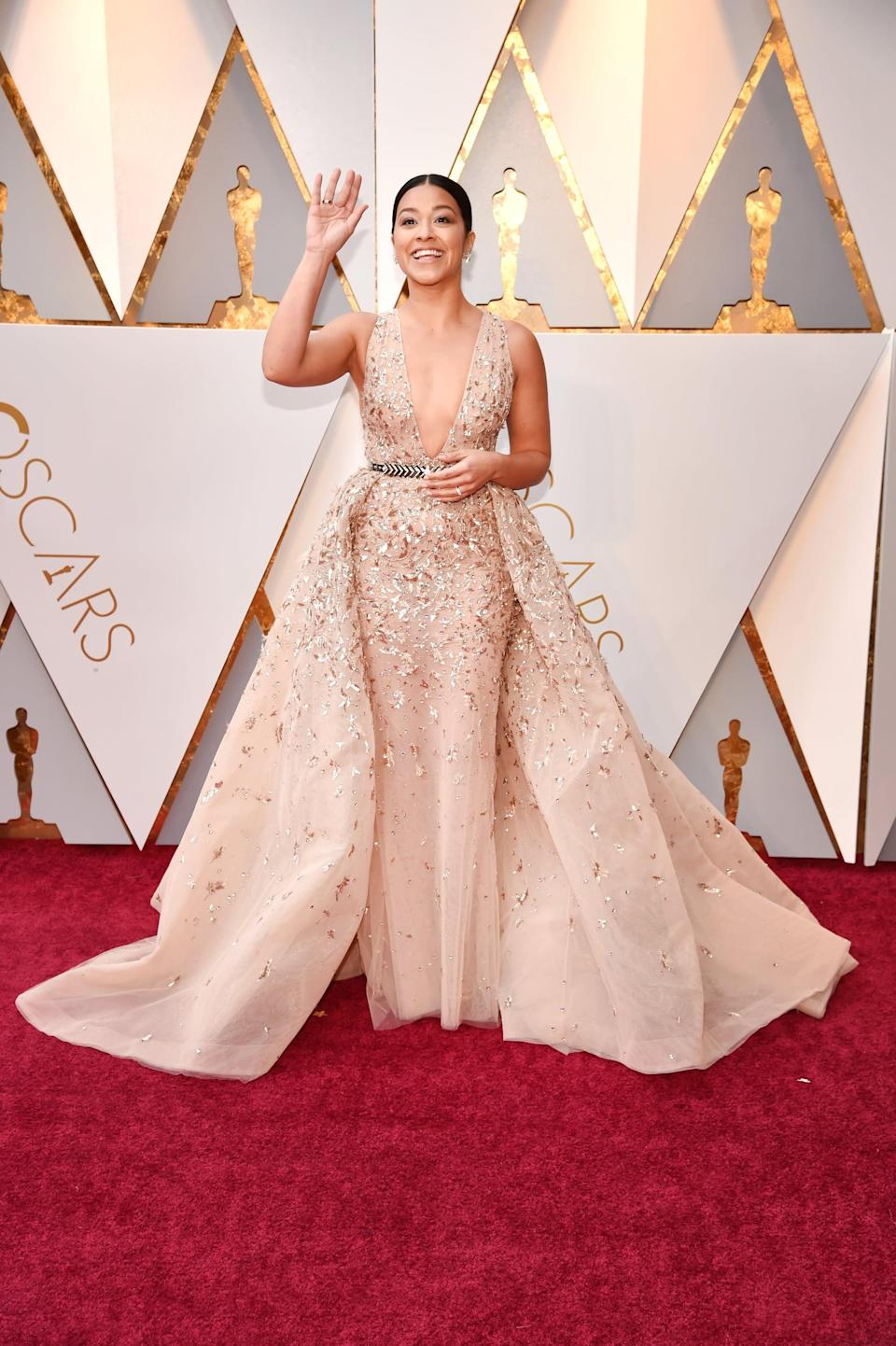 <p>Gina looked like an actual princess in this Zuhair Murad Couture dress. </p>