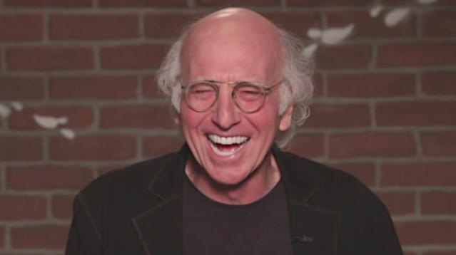 Larry David struggling to read mean tweets about Jimmy Kimmel is comedy gold.