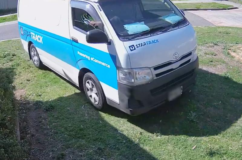 This vehicle was filmed running over and damaging the property's water meter. Source: Supplied