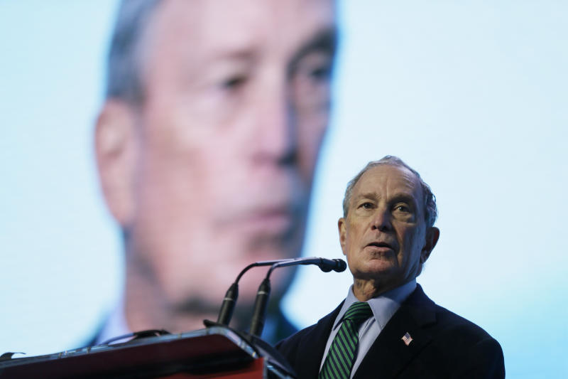 Democratic Presidential candidate Michael Bloomberg speaks before taking part in an on-stage conversation with former California Gov. Jerry Brown at the American Geophysical Union fall meeting Wednesday, Dec. 11, 2019, in San Francisco. Bloomberg made his first visit to California as a Democratic presidential candidate, appearing earlier with the mayor of Stockton who's championed universal basic income. Bloomberg and Brown talked about America's Pledge, bringing together leaders to ensure the U.S. remains a global leader in reducing emissions and delivering the goals of the Paris Agreement. (AP Photo/Eric Risberg)