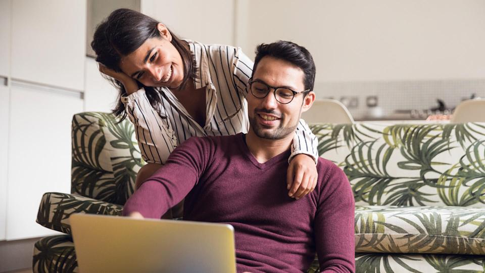 Young couple having fun at home.