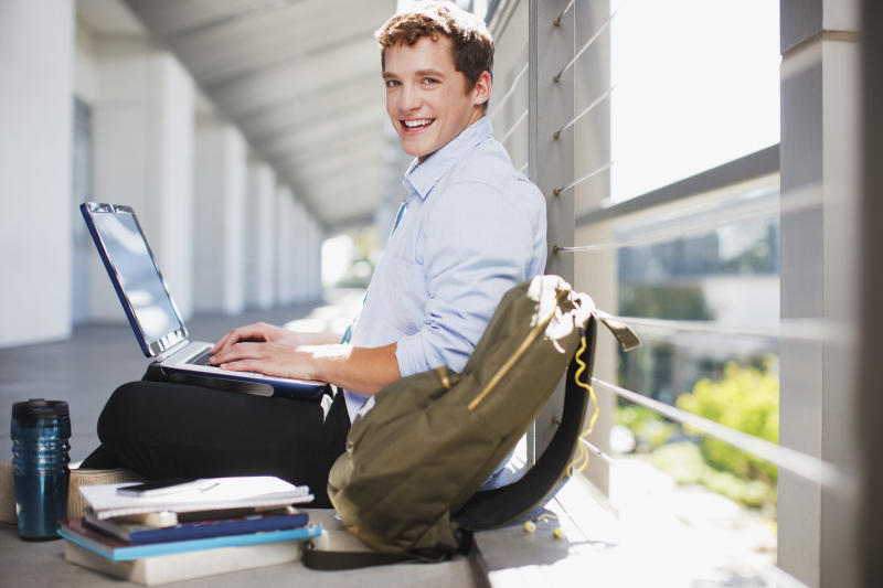college student on computer