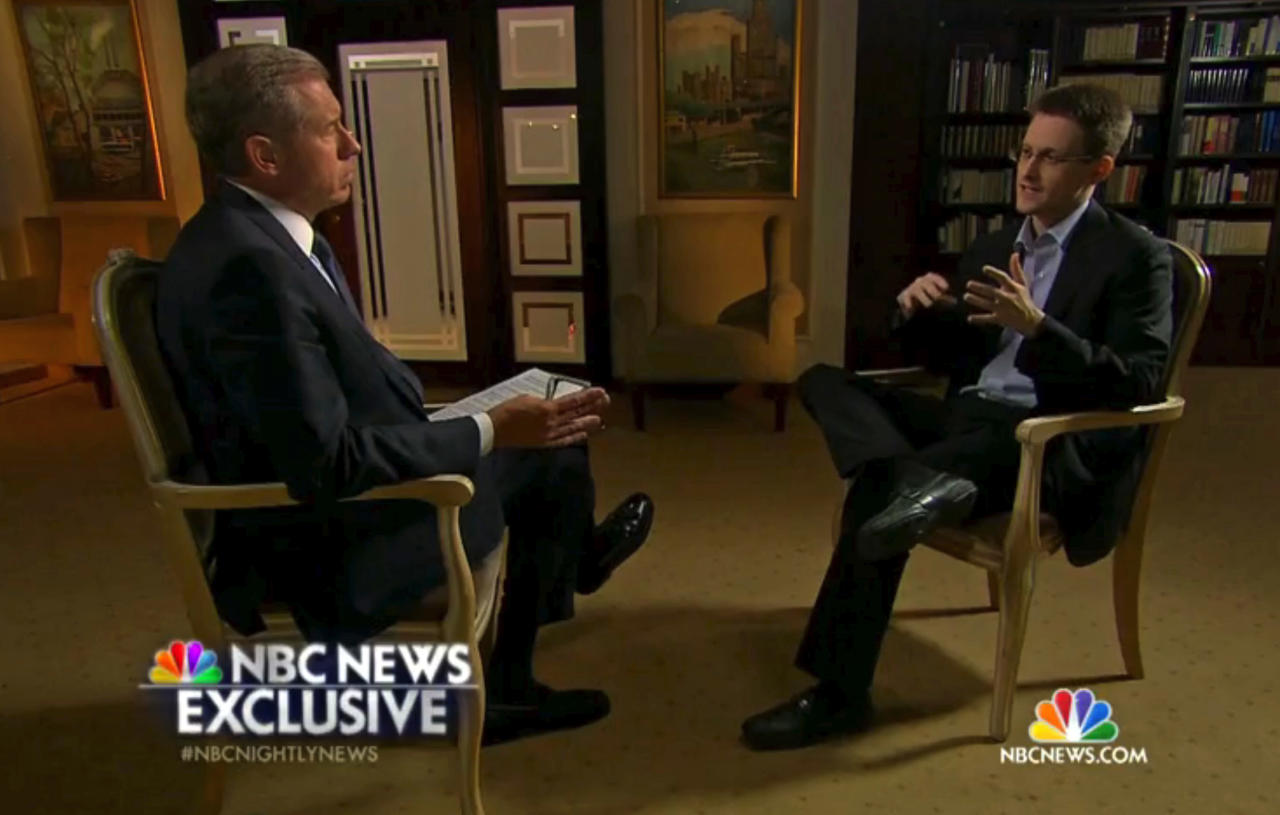 In this image taken from video provided by NBC News on Tuesday, May 27, 2014, Edward Snowden, a former National Security Agency (NSA) contractor, right, speaks to NBC News anchor Brian Williams, left, during an NBC Exclusive interview. (AP Photo/NBC News)