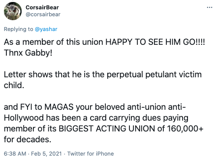 A union member said that they were 'happy to see Trump go'. Photo: Twitter.
